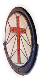 Cross in stained glass window
